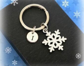 White snowflake keyring - Initial charm keyring - Christmas gift - Snowflake keychain - Stocking stuffer - Stocking filler - Secret Santa