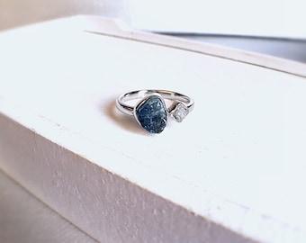 Raw blue tourmaline, blue tourmaline ring, raw diamond ring, rough diamond, raw tourmaline ring, tourmaline ring, raw crystal ring, Zeba