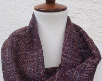 Handyed Handwoven Blue - Brown Single Loop Cowl