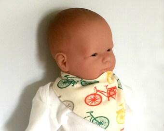 Organic bandana bib, infant drool bib, organic drool bib, cycling bandana bib, French terry bib,bicycle bandana bib, newborn bib, new baby