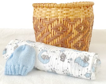 Baby swaddle and hat, blue moon swaddle, double gauze swaddle, baby gauze blanket, baby muslin swaddle, blue baby hat, blue baby swaddle