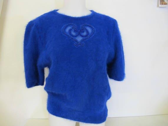 Angora Sweater 1980 Sweater Sapphire Blue Sweater Beads Dressy