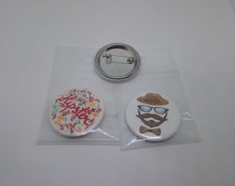 Set of 2 badges Hipster 37 mm