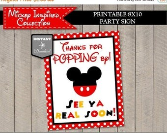 SALE INSTANT DOWNLOAD Printable Mouse 8x10 Thanks for Popping By Party Sign / Favors / Classic Mouse Collection / Item #3305