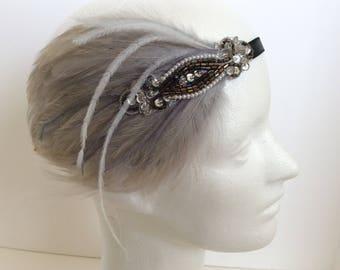 Bronze headband, silver feather great gatsby Headband Pearls Metallic Thread Art Deco Bridal 1920s Beaded Headpiece Velvet Ribbon