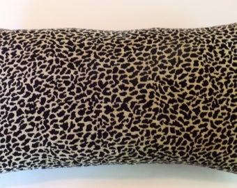 Black/Beige Leopard Velvet Lumbar Throw Pillow Cover -22 x 12- Handmade-Robert Allen Designer Decorator Home Decor Summer Finds Fresh Modern