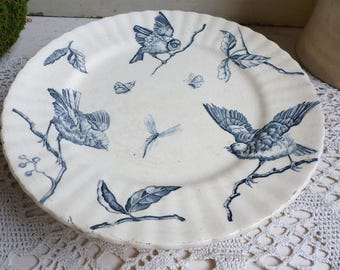 Antique french blue transferware cake stand. Blue transferware birds footed cake plate. Navy blue birds cake stand.French Nordic