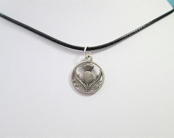 Scottish thistle black choker charm pendant, scotland necklace, choker charm necklace,