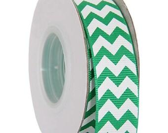 "Grosgrain Chevron Ribbon 7/8"" - 10 Yards - Green"