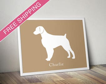 Personalized Brittany Silhouette Print with Custom Name- Brittany art, dog poster, dog gift, modern dog home decor