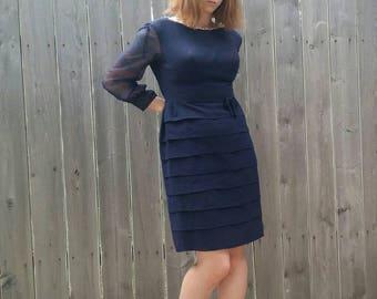 Vintage 1960s Formal Navy Blue Cocktail Dress Sheer Sequined Beaded Nu Mode Dress