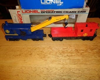 Lionel electric trains 2 work cars, a crane car, & work caboose, 027 or 0  gauge