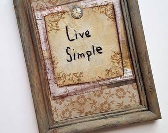 "Primitive Stitchery Embroidery Sampler ""Live Simple"" 5x7 FRAMED"