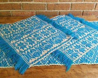 Vintage Blue Retro Crewel Tapestry Table Runner And Placemats