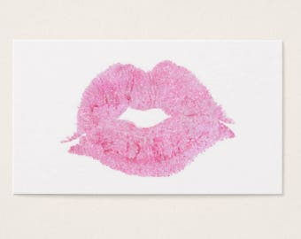 Business Card Template, LIPSENSE, SENEGENCE Pink Glitter Lips Instant Download DIY Blank Business Card Template -BC020