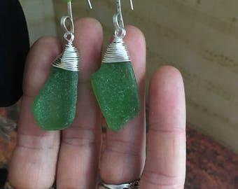 Bottle Green Funnel-wrapped Sea Glass earrings