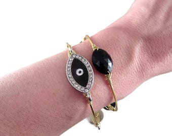 Greek Jewelry, Gold Stacking Bracelets, Wire Wrapped Bangle, Greek Evil Eye, Black Gold bangles, Black Evil Eye jewelry, free shipping