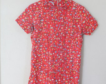 vintage red floral peterpan collar mini dress