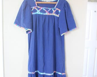 vintage blue mumu tunic house dress