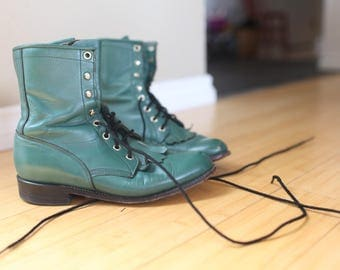 vintage turquoise green leather fringe roper ankle boots lace up womens 6