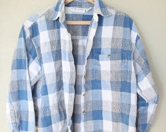 vintage slouchy oversized blue & gray plaid buffalo check grunge flannel button up shirt