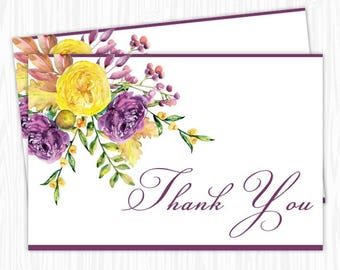 Purple and Yellow Rose Watercolor Floral Thank You Card, 4x6 Printable, Bridal Shower, Baby Shower, YOU print, you cut, DIY
