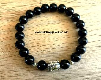 Black Onyx Elasticated Bracelet 7-8 inches Buddha Face Charm Natural Gemstone