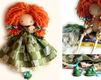 NEW Redhaired Cute Doll Ivy READY to SHIP Rag Doll Interior Doll Cloth Doll Fabric Doll Textile Dolls Birthday Gift Handmade Doll Tilda Doll