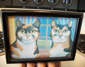 Vintage cat wall art, Gertrude Halsband cat art, vintage framed cat art, Cat home decor