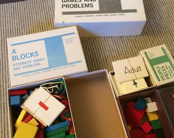 Vintage 1968 Educational Materials for Attribute Games and Problems Blocks Cubes People Pieces