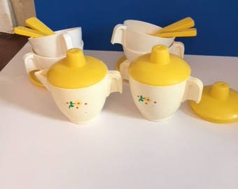 1981 Fisher Price Tea Set & Tray #681 Incomplete