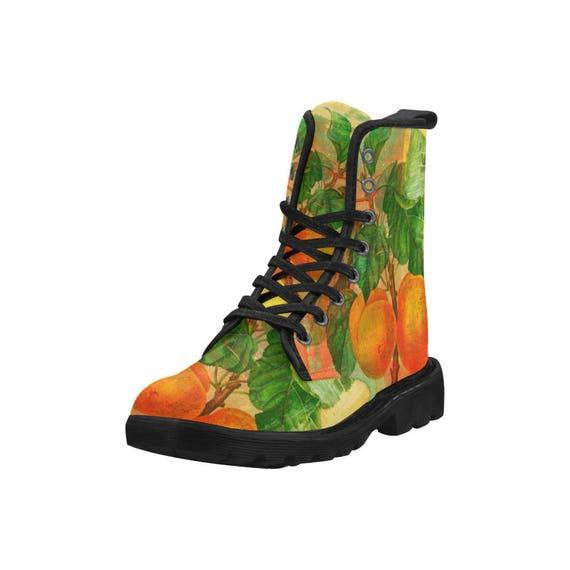 Botanical apricots, Women's high top combat boots, 80's style, feminine prints