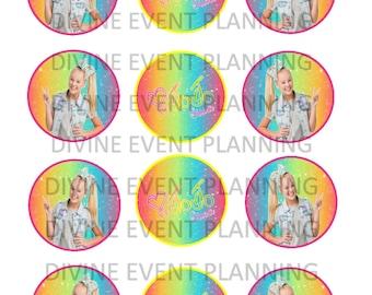 Jojo Siwa Printable cupcake toppers, download party favors