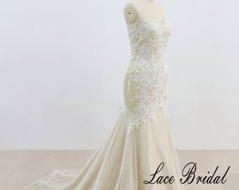 Vintage Style Lace Wedding Dress Sexy Lace Wedding Dress Ivory Mermaid Wedding Dress with Champagne Underlay