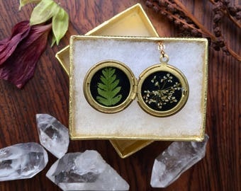 queen annes lace // brass botanical necklace // real pressed flower // new york fern