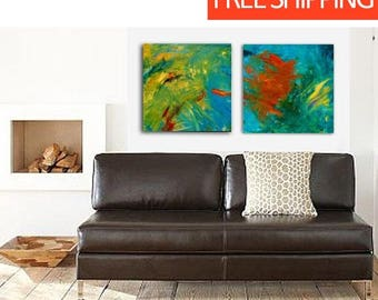 Diptych, Wall Decor Gift, Home Abstract Art, Gallery Art,Hotel Art,