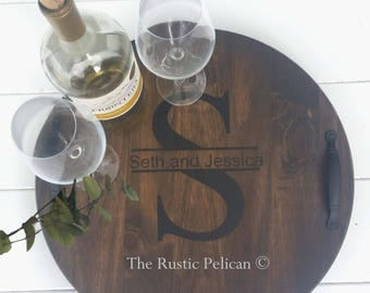 Personalized Wine Barrel, Lazy Susan, Wooden Wine Barrel, Hand Painted, Wedding Gift, Rustic decor, Bar, wine Cellar, Wood Wall Plaque