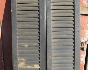 Antique Architectural Salvaged Pair of Shutters with Original Hardware