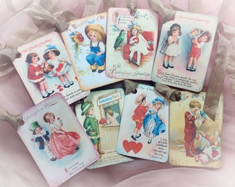 Set of 8 Victorian Style Valentine's Day Decor Gift Tags/Cards AND Satin Ribbons Vintage Retro Gift Bag Art Tag Journal Scrapbook Card SET