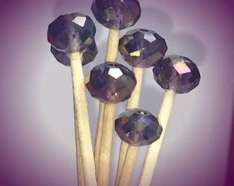 30 Purple Glass Beads Toothpick Skewer Pick Wedding Dinner Cocktail Tea Hors d'oeuvre Appetizer Beach Birthday Party Candy Bar Donut Shower