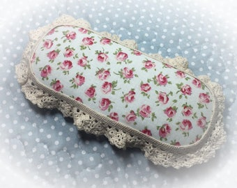 Hard Eyeglass Case Glasses Sunglasses or Trinket Box Shabby Chic Roses Rosebud Pink Red Cloth Cover Lacy Gift Idea by Sweet Vintage Designs