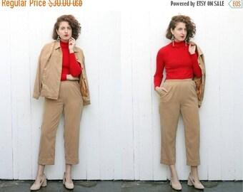 30% OFF SALE Vintage 80s Two Piece Set | 80s Camel Faux Suede Two Piece Pant Set | Medium M