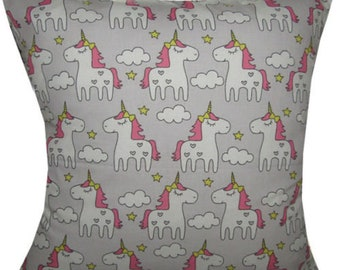 Designer handmade unicorn grey girls pony rainbow interior cushion cover 16 , 18 , 20 , 22 , 24 ""