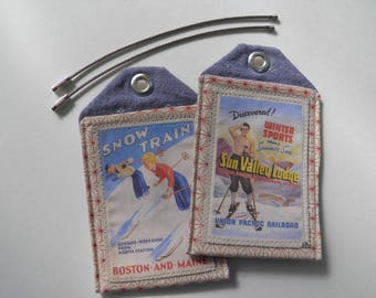 Custom luggage tags, ski theme, set of 2, vintage art, travel posters, ID tags, travel accessory, travel gift, retirement gift, bagtag