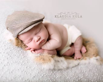 Newborn 'SEBASTIAN'  ivory and brown flat cap & shorties  baby boy drivers cap photo prop