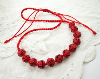 Vintage Faux Cinnabar Necklace, Adjustable Cord