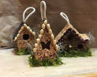 Small Woodland Edible Birdhouse | Squirrel Resistant | Bird Feeder | Birdhouse