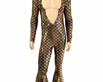 "Mens ""Flava Rava"" Long Sleeve Deep Bro V Neck Gold Dragon Scale Bell Bottom Catsuit Party Animal Gay Pride Open Chest Nips Out - 154600"