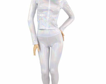 """2PC Set Long Sleeve Zipper Front Mock Turtle Neck 12"""" Length Top & High Waist Leggings in Flashbulb Holographic Work Out Yoga 154788"""