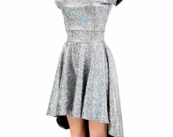 Silver on Black Shattered Glass Scoop Neckline Cap Sleeve Hi Lo Skater Dress Holographic Festival Rave - 154794